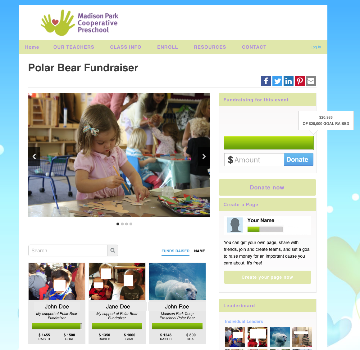Madison Park PB Fundraiser home page anonymous